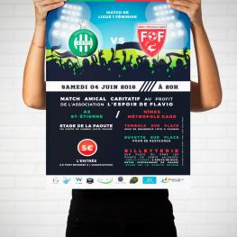 Création et Impression de l'affiche et des tickets d'un match amical de Ligue 1 Feminine Grasse